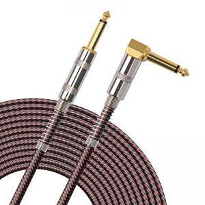 OTraki Câble de guitare en forme de L plaqué or 90 degrés pour instrument sans bruit 6,35 mm Jack 6,35 mm Angle droit à angle droit avec tweed tissé pour guitare électrique ou acoustique 10 m de la marque OTraki image 0 produit