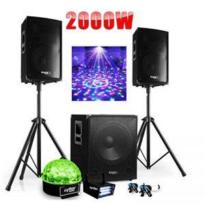 PACK SONO DJ 2000W CUBE 1512 avec CAISSON + ENCENTES + PIEDS + CABLES + Strobe + Sixmagic de la marque Ibiza sound image 0 produit