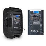 """Pack sono FM/USB/SD/BLUETOOTH - 2 Enceintes actives/passives LEDs 12"""" + Pieds + Mic + Tél de la marque Ibiza sound image 2 produit"""