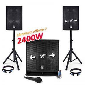 """Pack sono USB/BT 2400W - Sub 18"""" + 2 Enceintes 12"""" + Pieds + Câbles + Tél - BMS1812-USB-BT de la marque BM SONIC image 0 produit"""