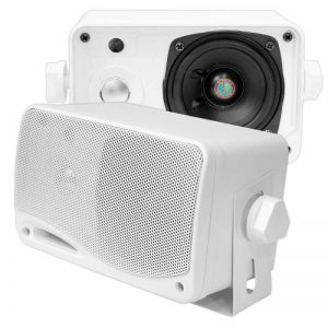 """Paire d'enceintes Pyle. Haut parleurs de 3.5 """" (8.9 cm) imperméables avec une puissance de 200 Watts - Blanc. de la marque Pyle image 0 produit"""