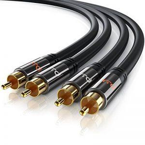 Primewire - RCA Audio Câble 1m HQ Stereo | Coaxial/Cinch Câble | Câble 2 x RCA mâle vers 2X RCA mâle | Connecteur entièrement métallique sur Mesure | Série HQ Premium de la marque CSL-Computer image 0 produit