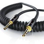PW - 1,5m Câble spirale jack audio   câble stéréo de connexion pour entrées / sorties AUX   Connecteur entièrement métallique sur mesure   2 x Prise jack audio 3,5 mm (3 pôles)   Série HQ Premium de la marque Uplink image 1 produit