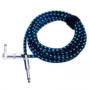 Rayzm Câble Tressé Blindé 3 mètres pour Guitare/ Guitare Basse, Câble pour Instrument Mono Mâle Coudé 1/4 Inch (6.35mm) Tweed Tissé - Bleu de la marque Rayzm image 0 produit