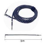 Rayzm Câble Tressé Blindé 5 mètres pour Guitare/ Guitare Basse, Câble pour Instrument Mono Mâle Coudé 1/4 Inch (6.35mm) Tweed Tissé - Noir de la marque Rayzm image 1 produit