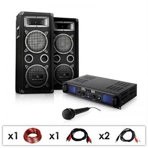 Set DJ PA DJ-25 Amplificateur (1 x Ampli, 2 x Enceintes, 1 x Micro, 1 x Câblage, 1600W pour jusqu'à 200 Personnes) de la marque Electronic-Star image 0 produit