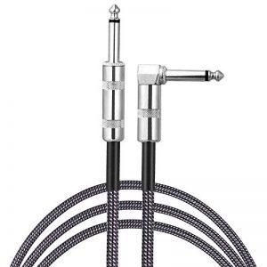Sinhery - Câble tressé pour guitare électrique - 3 m - Prise jack droite vers jack coudée 3 m gris de la marque Sinhery image 0 produit