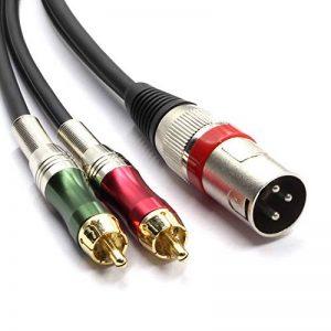 SiYear Haute qualité XLR mâle à 2 x adaptateur de prise RCA Phono Câble de raccordement pour séparateur Y, 1 XLR mâle 3 broches à double prise RCA Connecteur de câble audio stéréo (1,5 mètres) de la marque SiYear image 0 produit