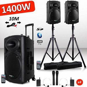 Système Actif Amplifié Batterie 1400W Port12 VHF Sonorisation karaoké Musiciens DJ USB Bluetooth Mobile + Pieds de la marque Ibiza sound image 0 produit