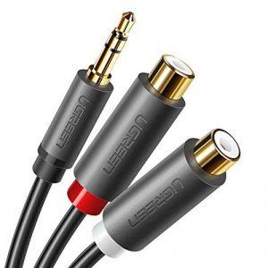 UGREEN Audio Câble RCA Jack Adaptateur 3.5mm Mâle vers 2 RCA Femelle Stéréo pour Téléphone Platine vinyle Enceinte Chaine HiFi Amplificateur Autoradio Plaqué Or, 20cm de la marque UGREEN image 0 produit