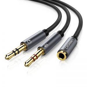 UGREEN Câble Audio 3.5mm Stéréo Adaptateur Y Jack Micro en Aluminium Compatible avec Ordinateur de Bureau Ordinateur Portable, Micro Casque avec Une Seule Prise Jack 3.5mm, 20cm (Noir) de la marque UGREEN image 0 produit