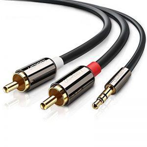 UGREEN Câble RCA Jack Audio Stéréo 3.5mm Mâle vers 2 RCA Mâle Y Compatible avec Amplificateur Autoradio Chaîne HiFi Barre de Son Home Cinéma Smartphone, Plauqés Or (2 M) de la marque UGREEN image 0 produit