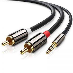 UGREEN Câble RCA Jack Audio Stéréo 3.5mm Mâle vers 2 RCA Mâle Y Compatible avec Amplificateur Autoradio Chaîne HiFi Barre de Son Home Cinéma Smartphone, Plauqés Or (3 M) de la marque UGREEN image 0 produit