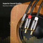 UGREEN Câble RCA Jack Audio Stéréo 3.5mm Mâle vers 2 RCA Mâle Y Compatible avec Amplificateur Autoradio Chaîne HiFi Barre de Son Home Cinéma Smartphone, Plauqés Or (5 M) de la marque UGREEN image 1 produit
