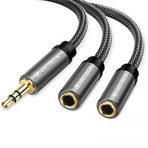 Victeck Câble Audio stéréo répartiteur avec Prise Jack 3,5 mm mâle vers 2 Prises Jack 3,5 mm Femelles Longueur 25 cm de la marque VICTECK image 0 produit