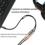 Yakamoz 30cm Audio Câble Adaptateur Jack 3.5mm Mâle vers 2 Femelle Splitter Audio Câble de Rallonge Adaptateur Audio Stéréo Plaqué Or pour Téléphones, Ecouteurs, Orateurs, Tablettes, PC, Lecte de la marque Yakamoz image 3 produit